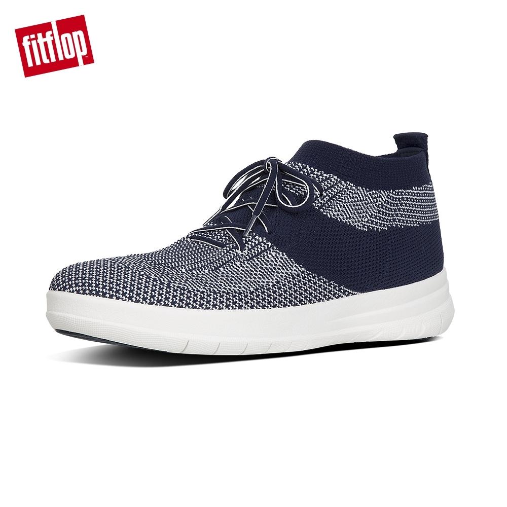 FitFlop UBERKNIT 輕量繫帶高筒休閒鞋(午夜藍/都會白)