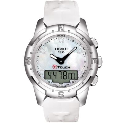 TISSOT T-TOUCH II 鈦真鑽多功能觸控錶-白貝/42.7mm T0472204611600