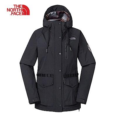 The North Face北面女款黑色防風防水衝鋒衣|3V3WJK3