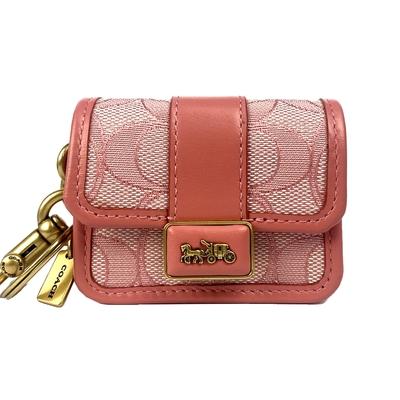 COACH 專櫃款 經典 Signature 緹花 Alie 鉸鏈鑰匙圈零錢包 粉色