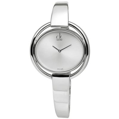 CK IMPETUOUS 優雅不鏽鋼鍊指針腕錶-銀白/34mm