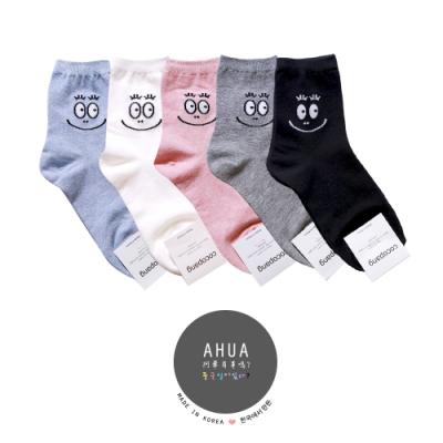 阿華有事嗎 韓國襪子 可愛笑臉泡泡先生純色中筒襪 韓妞必備少女襪 正韓百搭純棉襪