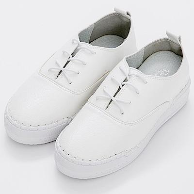 River&Moon中大尺碼-韓版超軟縫線繫帶厚底小白鞋