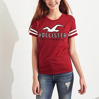 海鷗 Hollister 經典刺繡大海鷗文字短袖T恤(女)-紅色