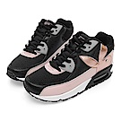PLAYBOY 繽紛炫彩撞色氣墊運動鞋-黑粉-Y5229C9