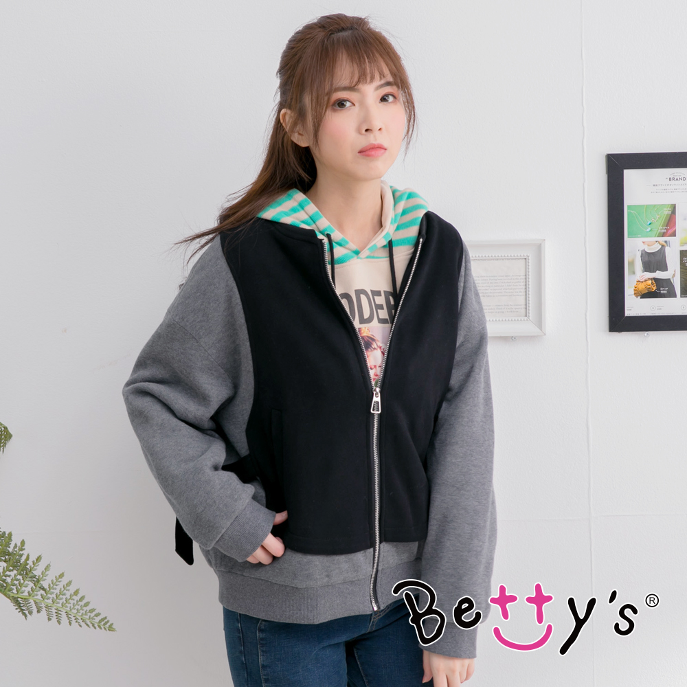 betty's貝蒂思 率性拼布羅紋外套(黑色) product image 1