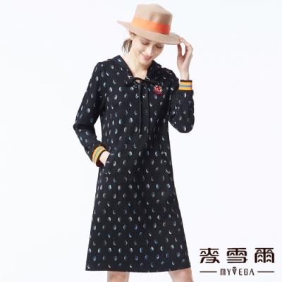 麥雪爾 連帽圓彩休閒短洋裝-黑
