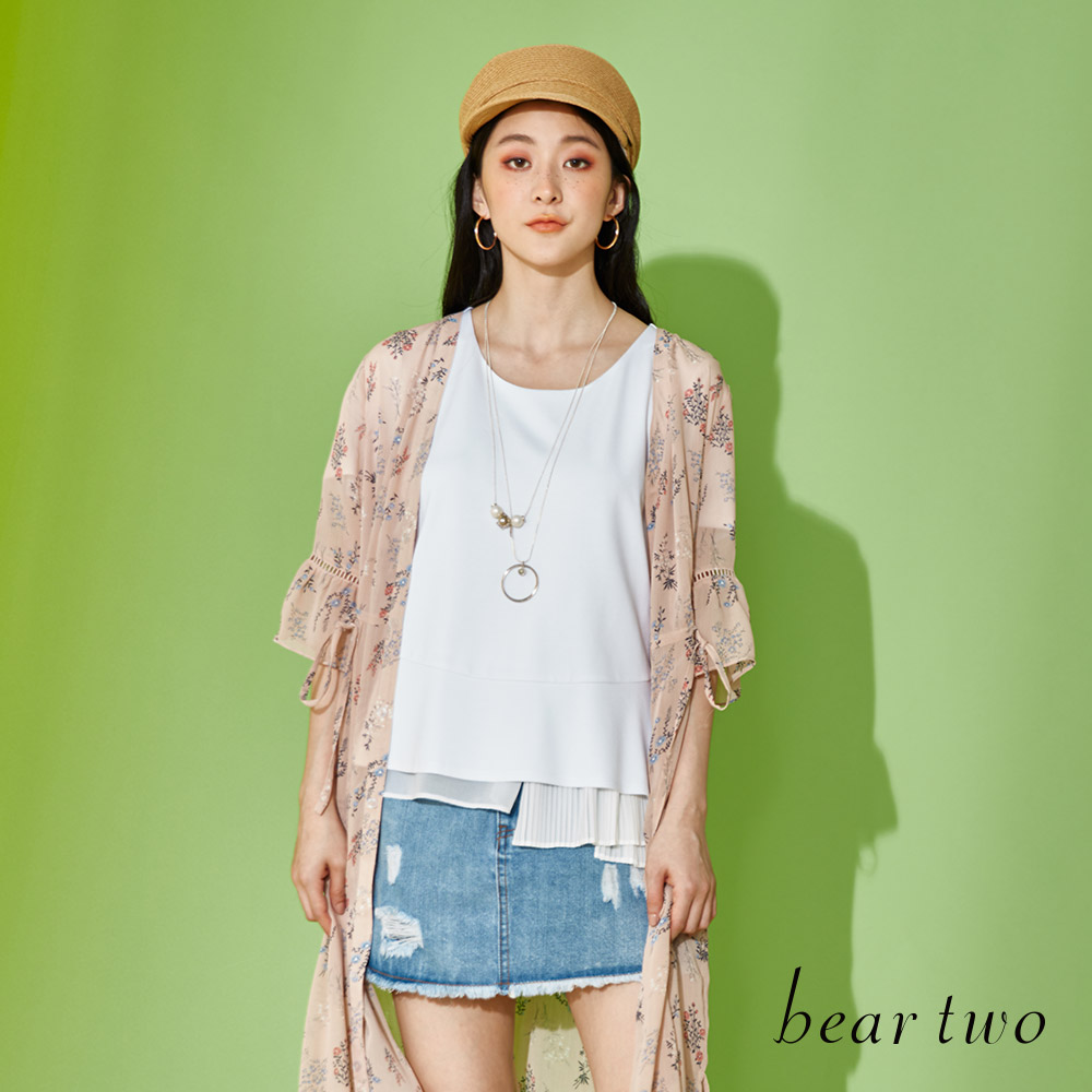 beartwo 雪紡拼接基本上衣(二色)