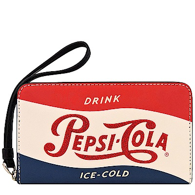 COACH Pepsi Cola字樣皮革拉鍊六卡中夾