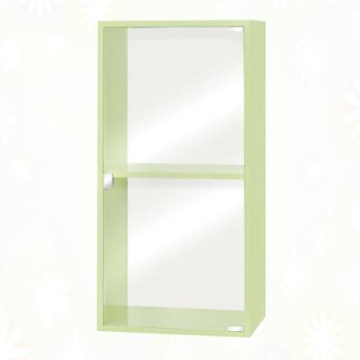 文創集 歷克 環保1.3尺南亞塑鋼玻璃單開門二格置物櫃/收納櫃-40x31x80cm免組