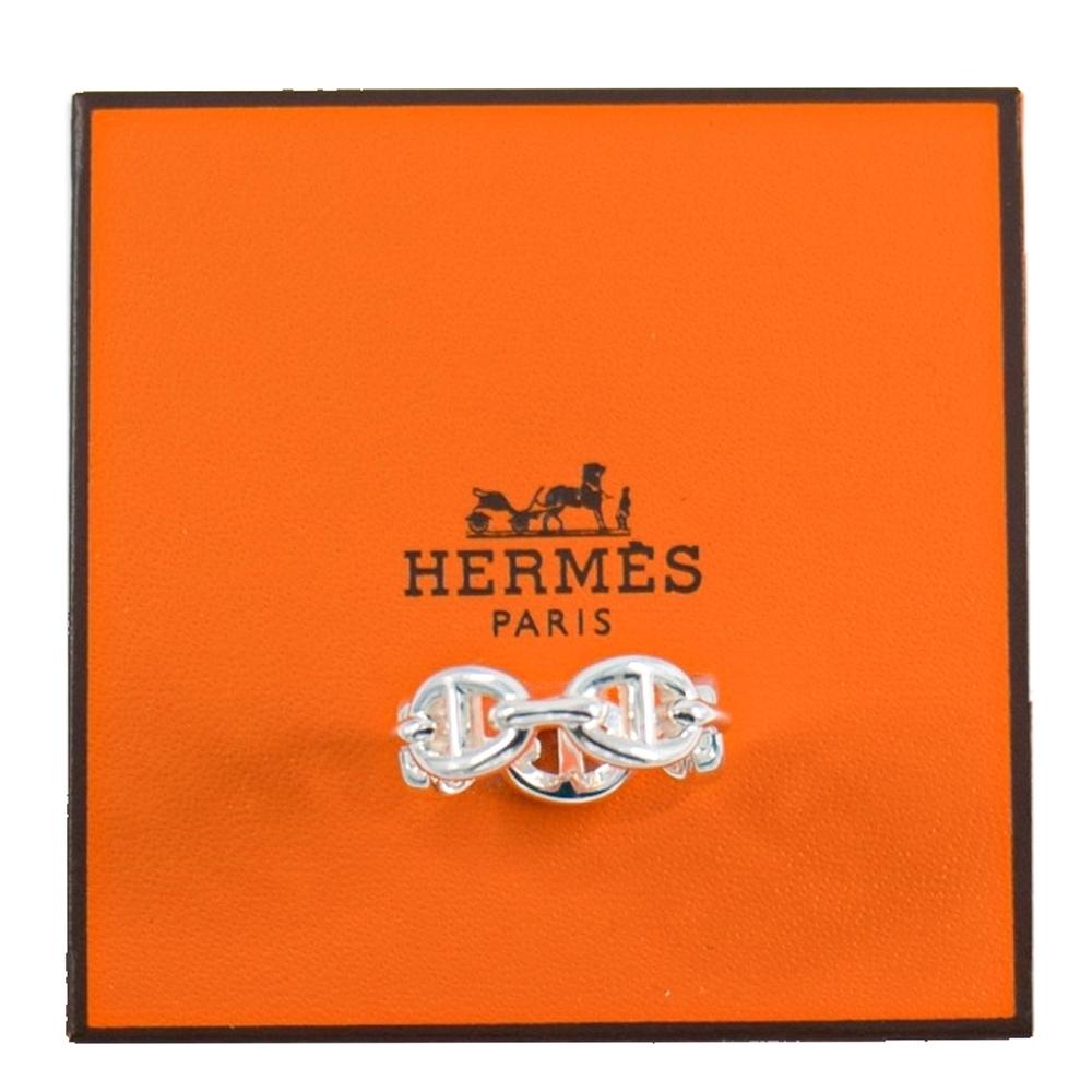 HERMES 豬鼻 純銀戒指 Chaine d'Ancre