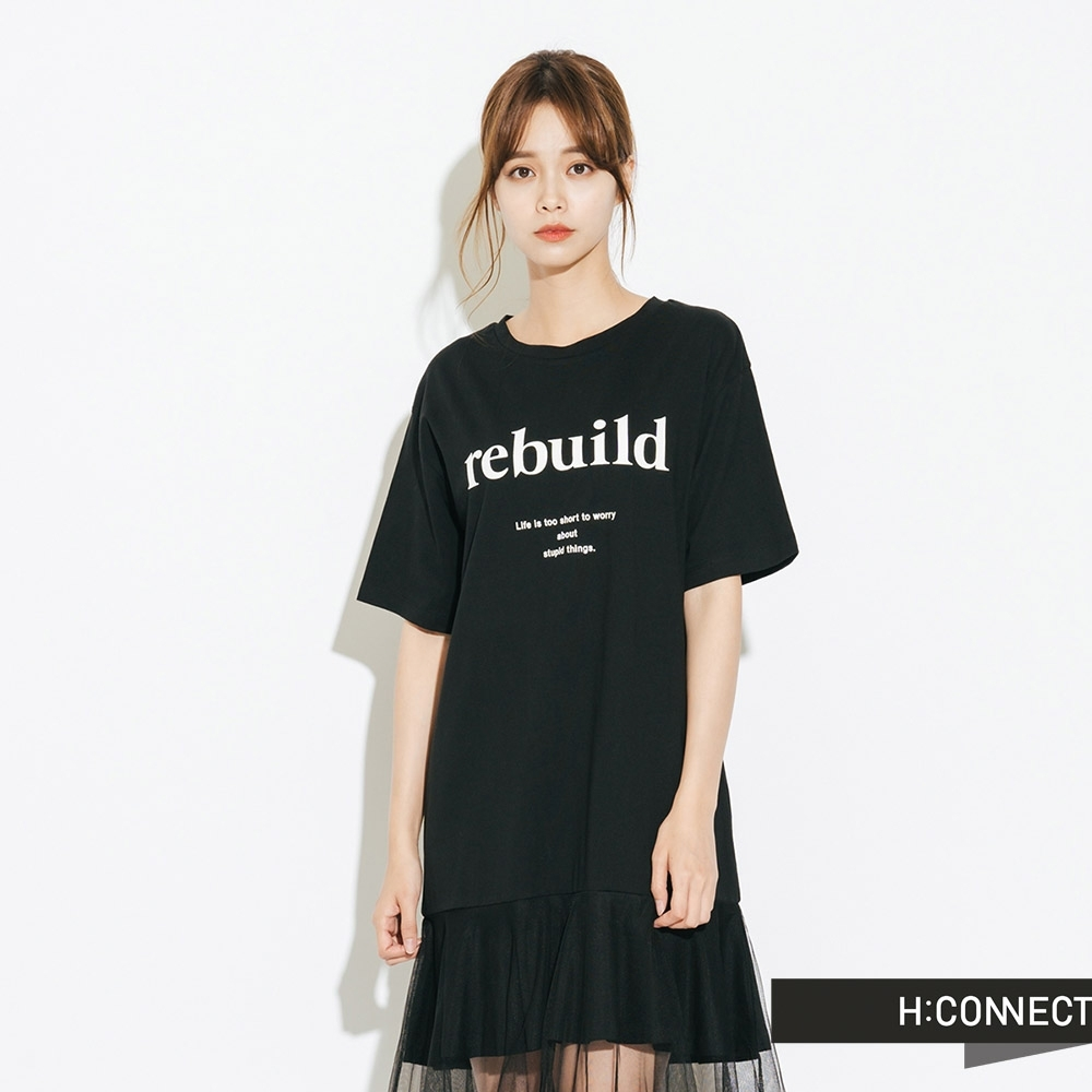 H:CONNECT 韓國品牌 女裝-拼接下擺休閒洋裝-黑