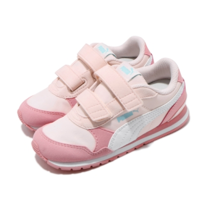 Puma 慢跑鞋 ST Runner v2 運動 童鞋 輕量 舒適 魔鬼氈 小童 球鞋 粉 白 36529516