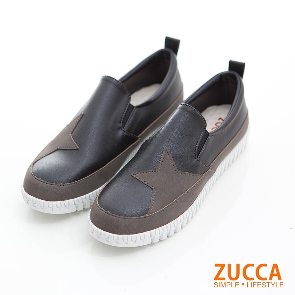ZUCCA-雙色拼貼星星平底鞋-黑-z6820bk