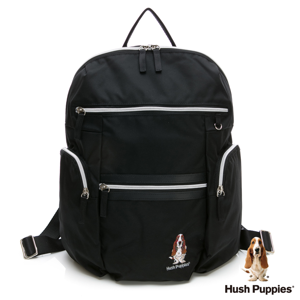 Hush Puppies 多功能拉鍊後背包-黑色