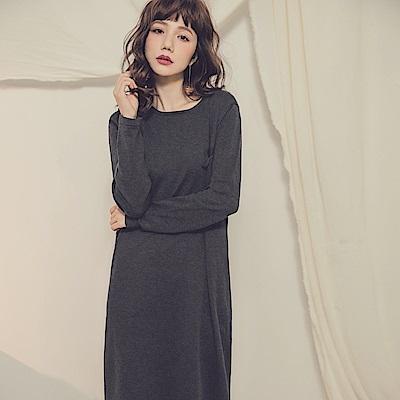 純色口袋設計針織洋裝-OB大尺碼