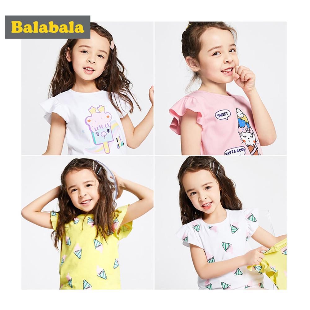Balabala巴拉巴拉-冰淇淋印花荷葉邊短袖T恤-女(2色)