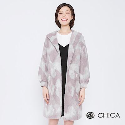 CHICA 光影粒子幾何色塊連帽毛呢大衣(2色)