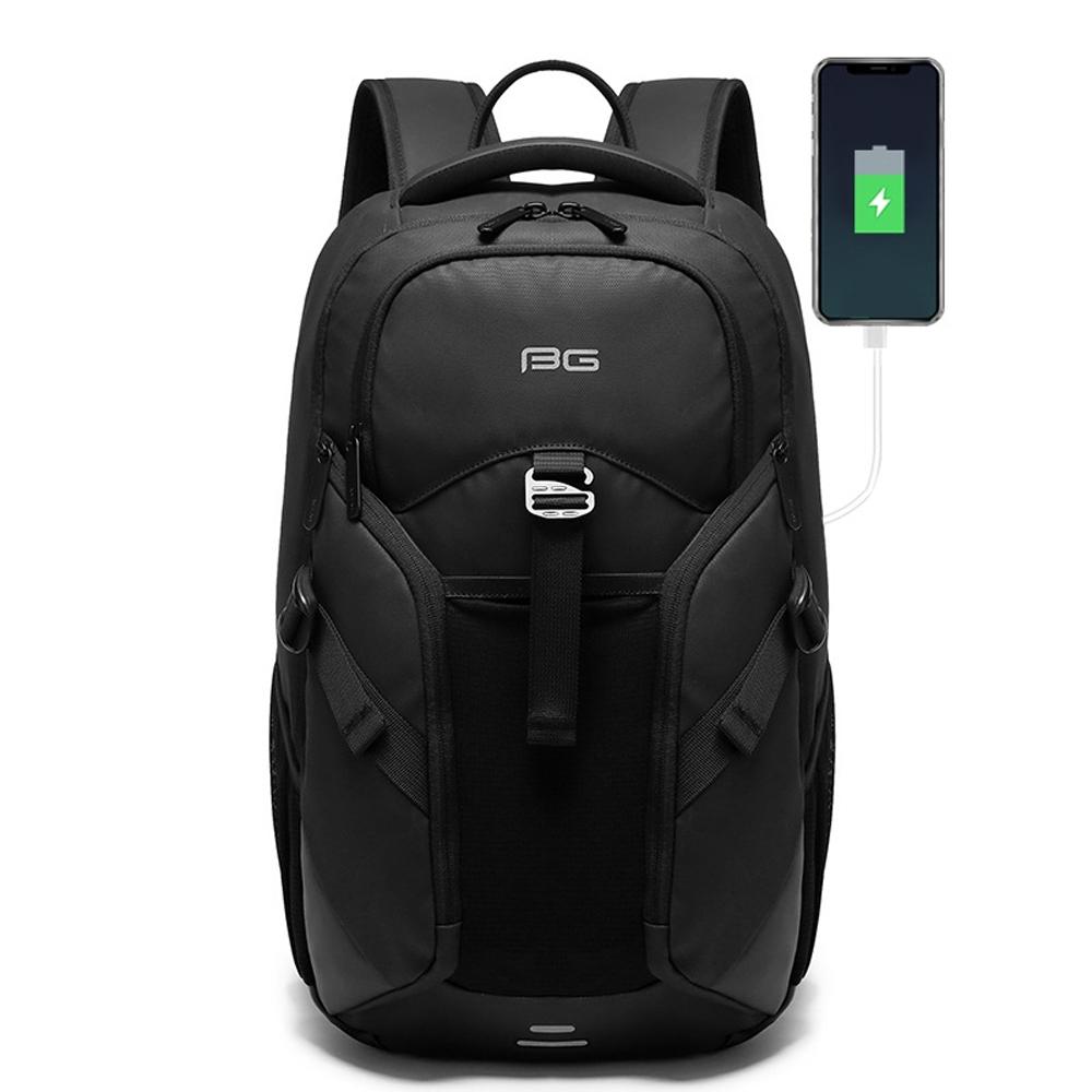 leaper USB充電多功能口袋防水雙肩後背包 黑色