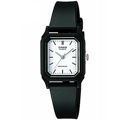 CASIO 輕便巧小運動指針錶(LQ-142-7E)-白色丁字面x黑-22mm