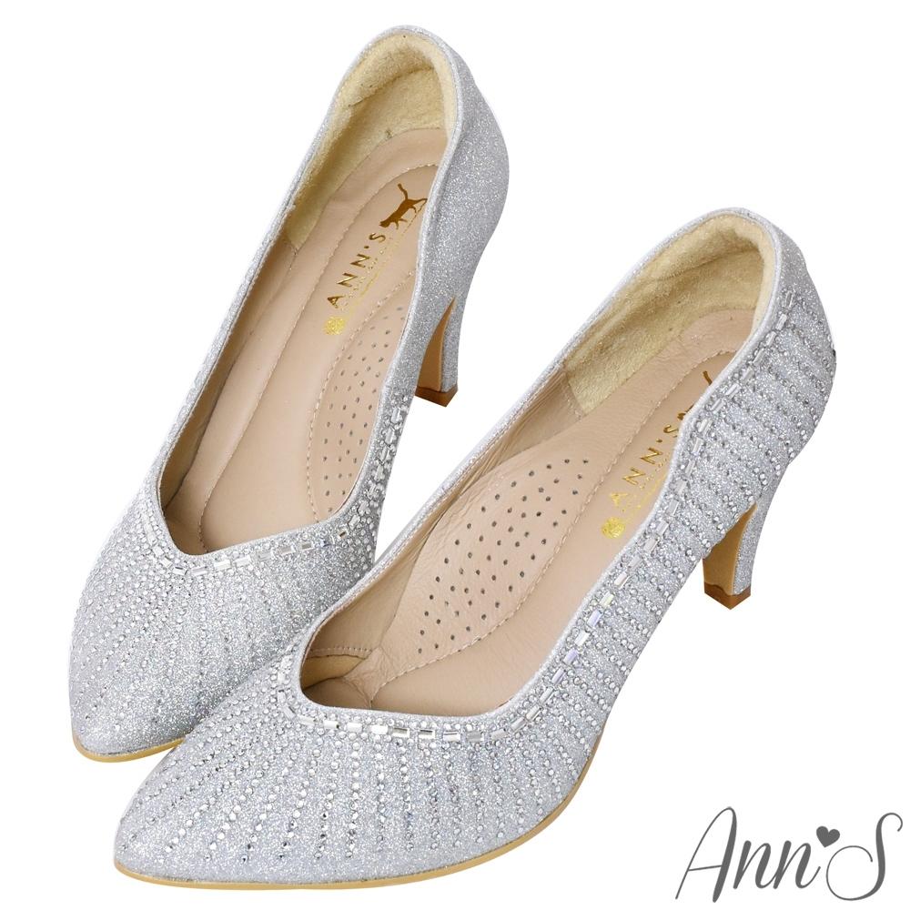 Ann'S最美煙火放射狀水鑽低跟尖頭婚鞋-銀(版型偏小)