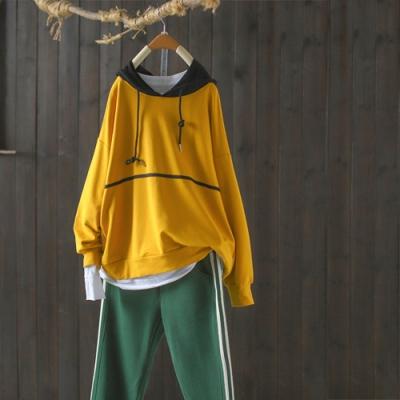 純棉撞色拼接連帽衛衣寬鬆內搭上衣-設計所在