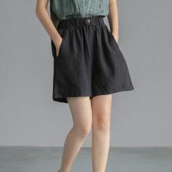 復古亞麻顯瘦短褲寬鬆百搭薄直筒褲子四色可選-設計所在