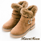 River&Moon內增高-顯瘦V型皮草扣環內增高短靴-卡其