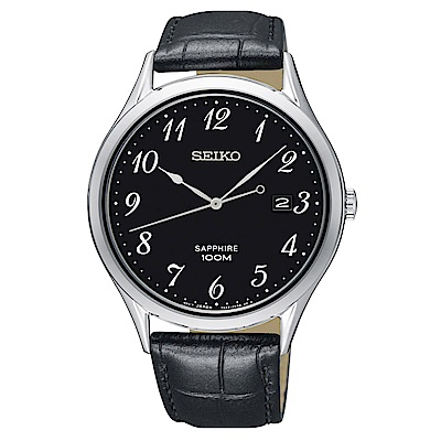 SEIKO 時光領袖藍寶石鏡面石英腕錶(SGEH77P1)-黑/40mm