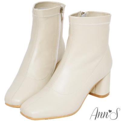 Ann'S纖細小姐姐-小羊皮方頭低跟塑身短靴-米白