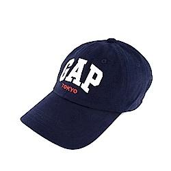 GAP 東京限定 經典文字刺繡老帽-深藍色