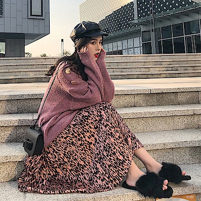 La Belleza豹紋鬆緊腰百摺裙大擺半身裙