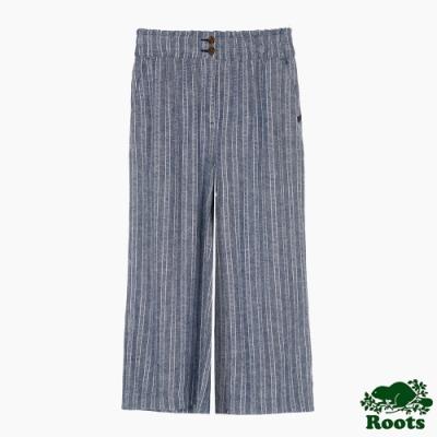 Roots 女裝- 摩登週間系列 高腰鬆緊褲頭亞麻寬褲-拚色