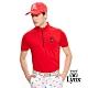 【Lynx Golf】男款吸濕排汗抗UV小山貓繡花短袖立領POLO衫-紅色 product thumbnail 2