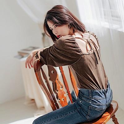 婚禮系列~絲絨緞面抓皺後蝴蝶結上衣-OB大尺碼