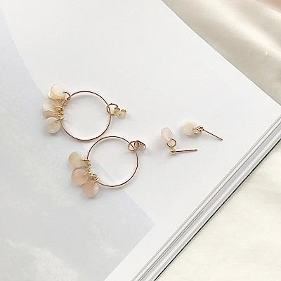 梨花HaNA 韓國925銀針貝殼石仙氣十足垂綴耳環