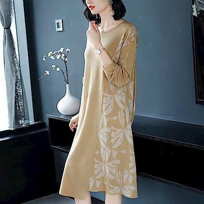 印花拼接寬鬆針織打底毛衣裙洋裝S~2XL(共二色)-糖潮