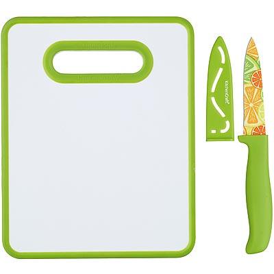《KitchenCraft》Healthy蔬果刀+雙面砧板(25.5cm)