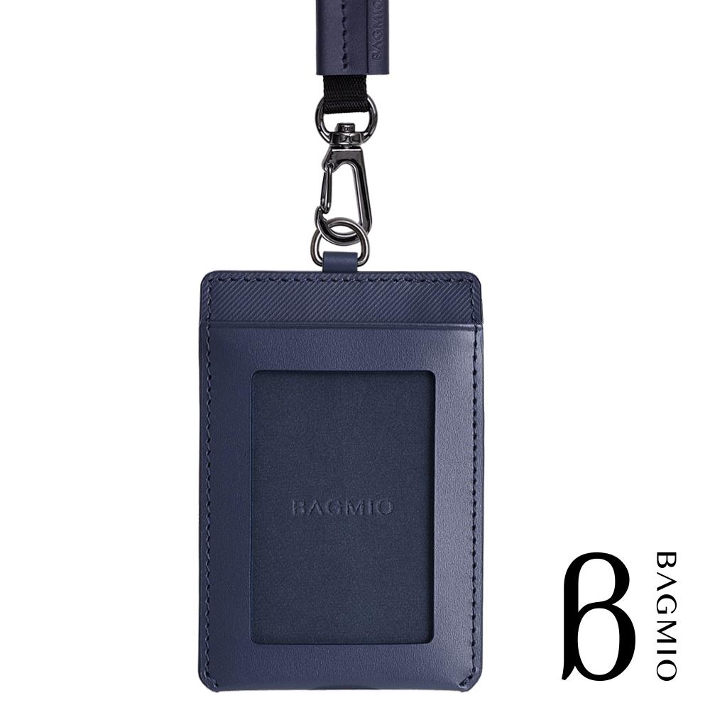 BAGMIO vigor 牛皮直式雙卡證件套(新款) 午夜藍 附織帶