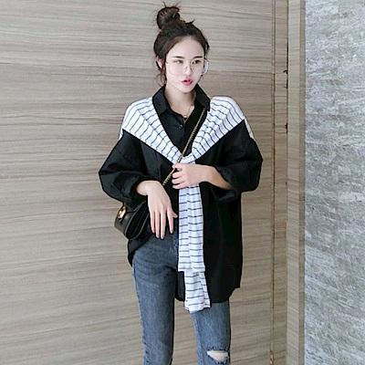 La Belleza海軍風條紋披肩領巾拼接排釦襯衫 @ Y!購物