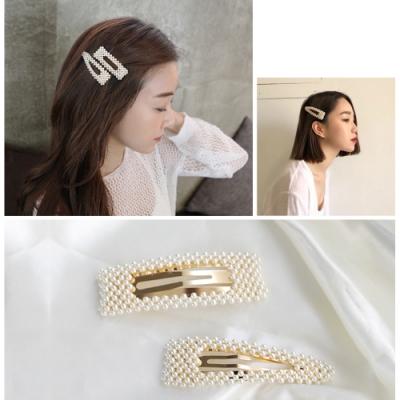 kiret 韓國氣質感手工珍珠鏤空髮夾三角水滴+方形 超值2入(贈珍珠一字夾)