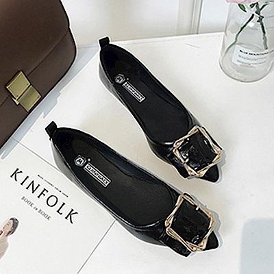 韓國KW美鞋館 輕柔好感印象樂活舒適平底鞋-黑色