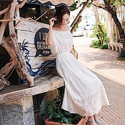 IREAL 雕花鏤空一字領長洋裝