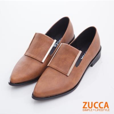 ZUCCA-金邊皮革低跟紳士鞋-棕-z6713ce