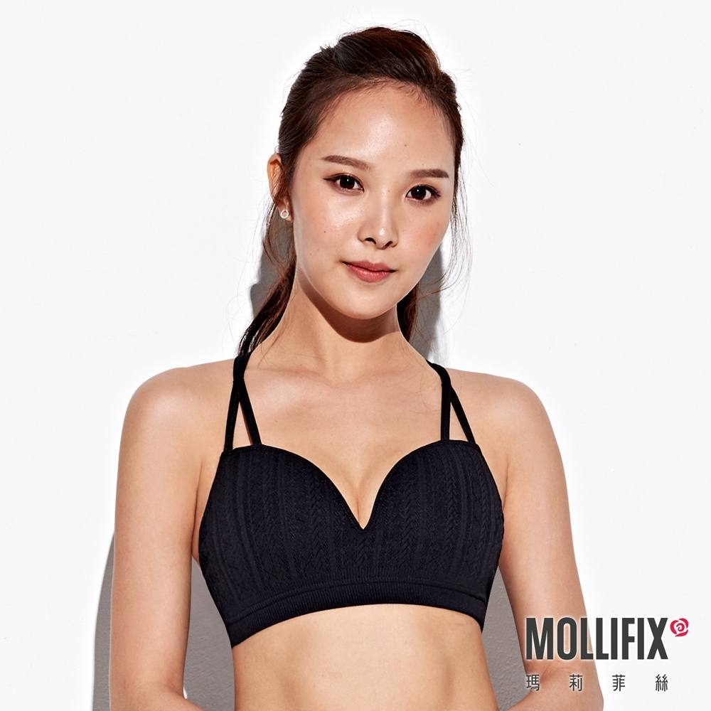 Mollifix 瑪莉菲絲 A++交錯雙肩帶美胸BRA (黑)