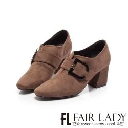 FAIR LADY 造型釦飾拼接方頭高跟踝靴 摩卡