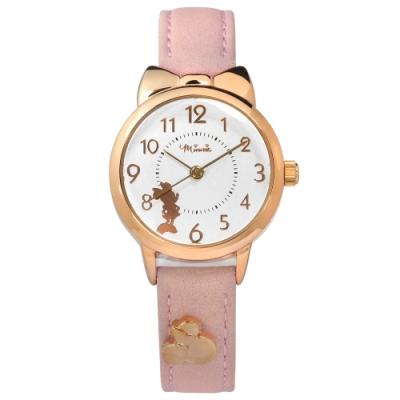 Disney 迪士尼 米妮剪影 蝴蝶結錶框 卡通 真皮手錶-銀x玫瑰金框x粉/27mm