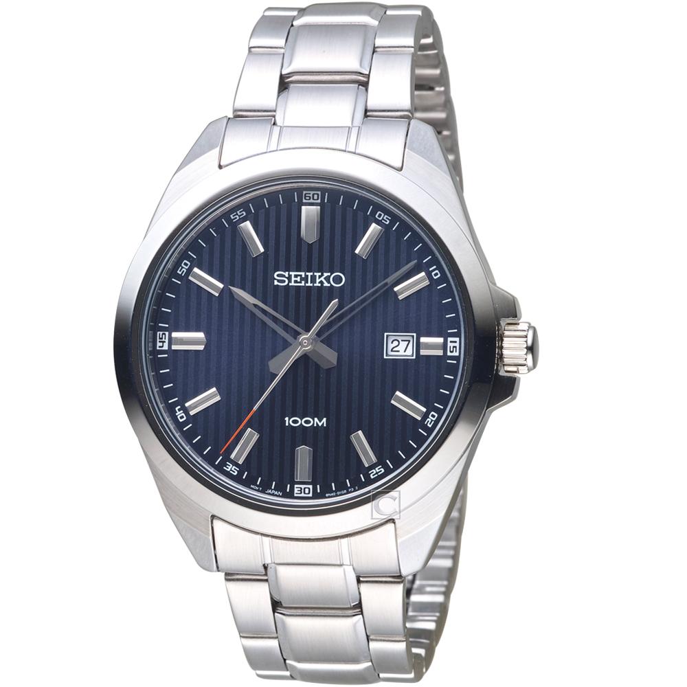 SEIKO精工直紋時尚紳士手錶(SUR275P1)-藍