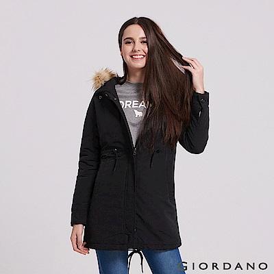 GIORDANO 女裝內刷毛收腰連帽長版厚外套PARKA-09 標誌黑