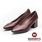 WONDERS-低跟尖頭素面包鞋 酒紅